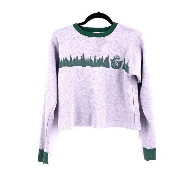 Vintage Tops - Smokey the bear gray sweatshirt crop top XS